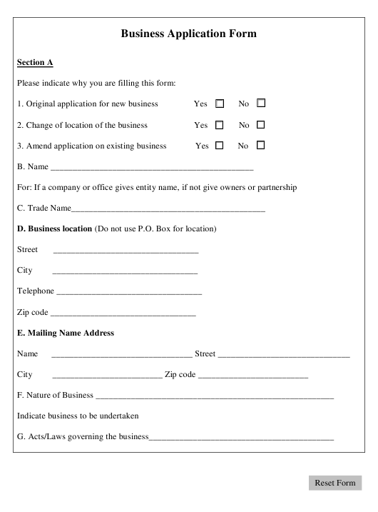 """Business Application Form"" Download Pdf"