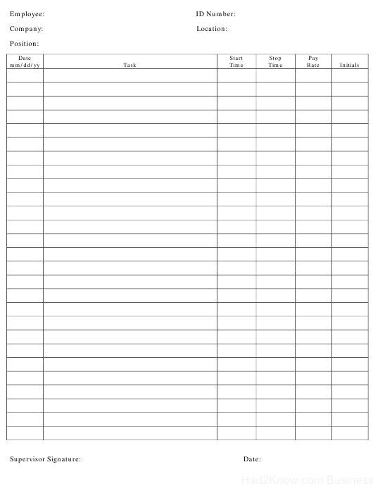 """Employee Time Log Template"" Download Pdf"