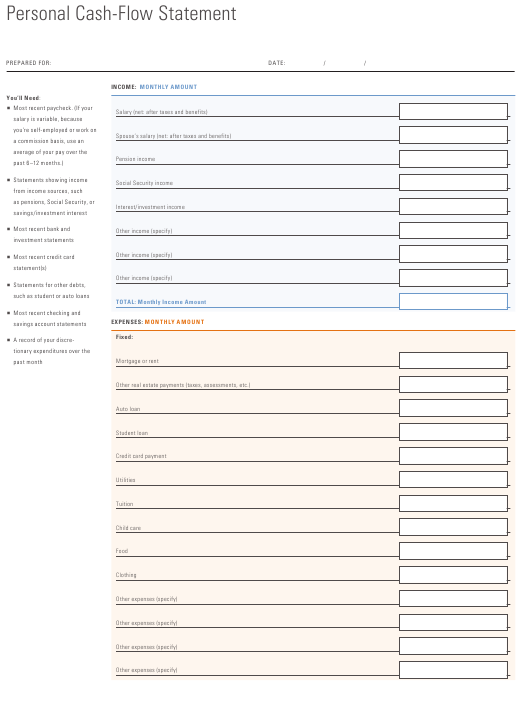 personal cash flow statement template download pdf