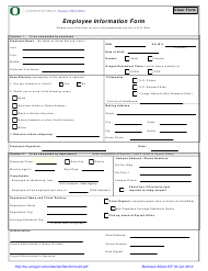 """Employee Information Form - University of Oregon"" - Oregon"
