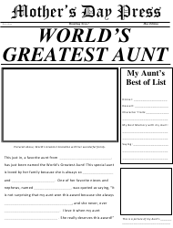 World's Greatest Aunt Newspaper Template