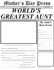 """World's Greatest Aunt Newspaper Template"""