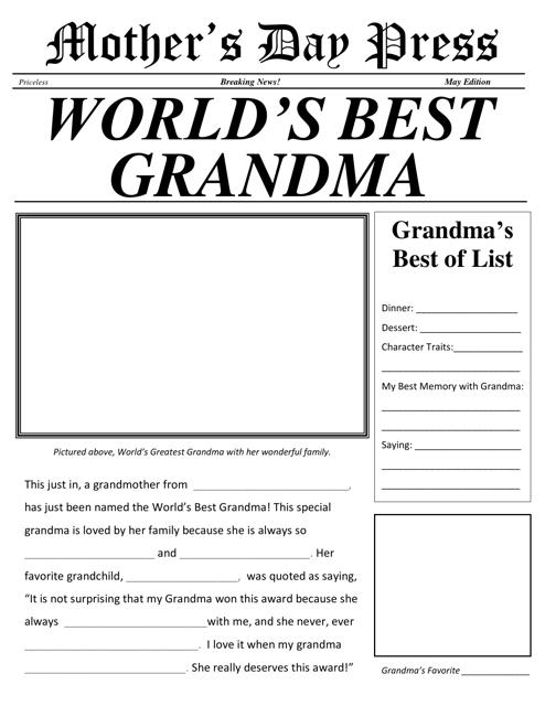 """""""World's Best Grandma Newspaper Template"""" Download Pdf"""