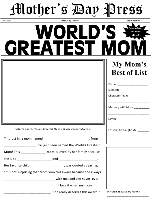 """World's Greatest Mom Newspaper Template"" Download Pdf"