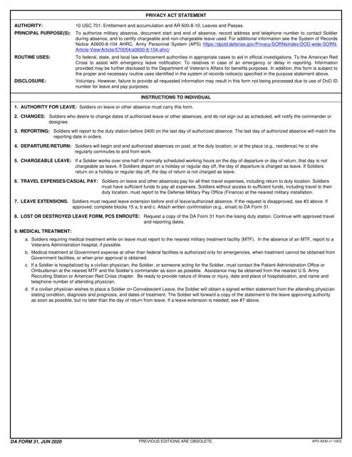 DA Form 31  Printable Pdf