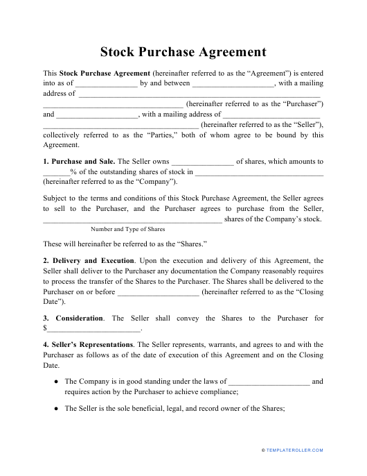 """""""Stock Purchase Agreement Template"""" Download Pdf"""