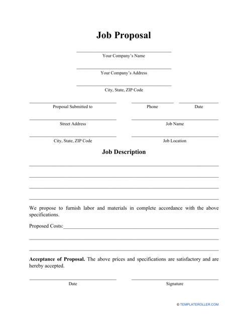 """Job Proposal Template"" Download Pdf"