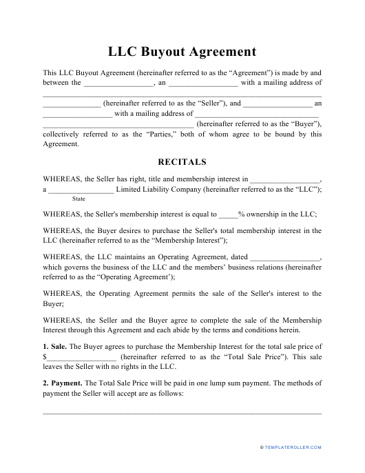 """LLC Buyout Agreement Template"" Download Pdf"