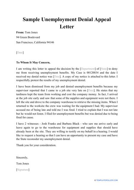 "Sample ""Unemployment Denial Appeal Letter"" Download Pdf"