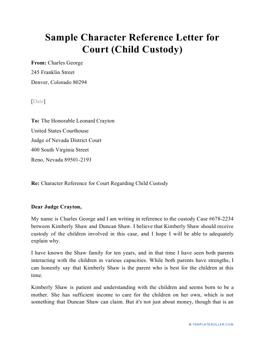 """Sample """"Character Reference Letter for Court (Child Custody)"""" Download Pdf"""
