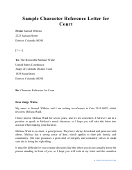 "Sample ""Character Reference Letter for Court"""