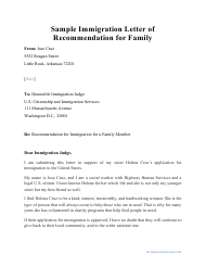 "Sample ""Immigration Letter of Recommendation for Family"""