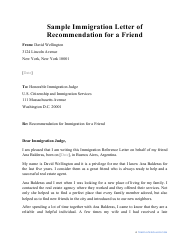 "Sample ""Immigration Letter of Recommendation for a Friend"""