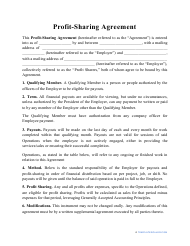"""""""Profit-Sharing Agreement Template"""""""