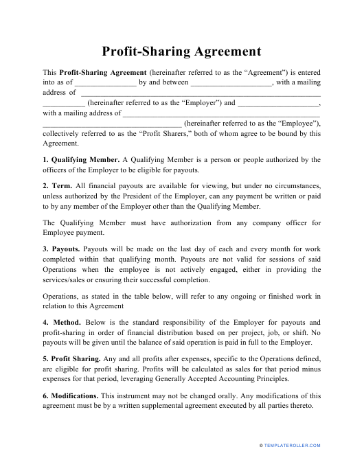 """Profit-Sharing Agreement Template"" Download Pdf"