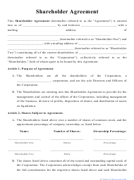 """Shareholder Agreement Template"""