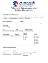 """Resident Grievance Form"" - Pennsylvania"