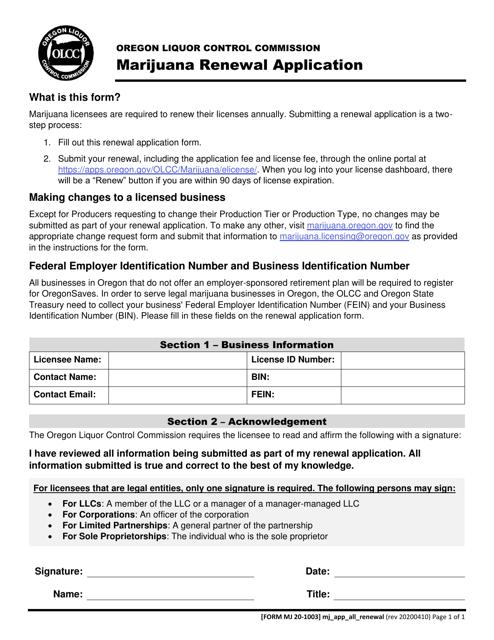 Form MJ20-1003  Printable Pdf