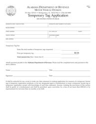 "Form MVR-1 ""Temporary Tag Application"" - Alabama"