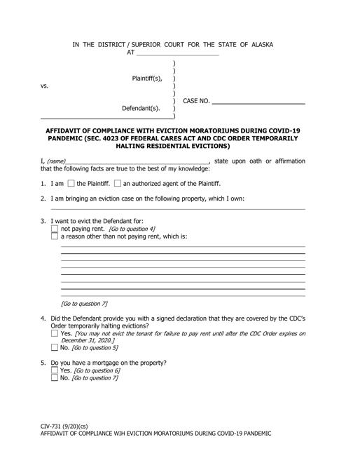 Form CIV-731  Printable Pdf