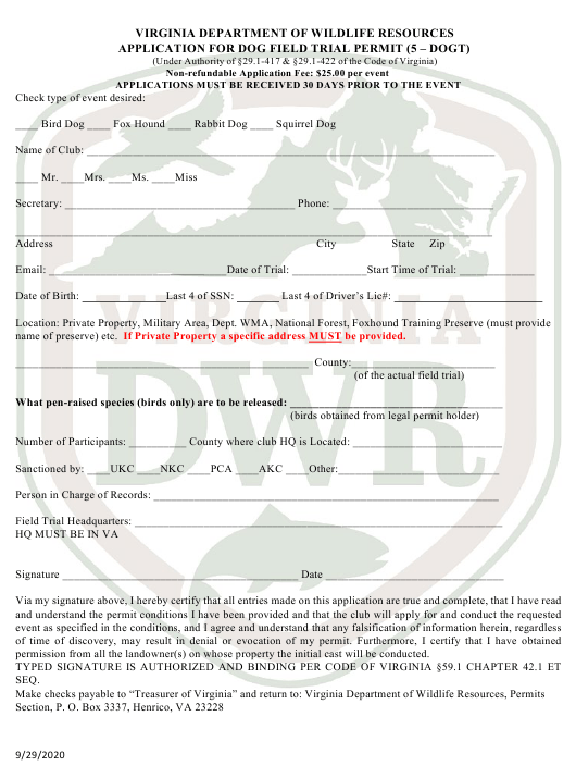 """""""Application for Dog Field Trial Permit (5 - Dogt)"""" - Virginia Download Pdf"""
