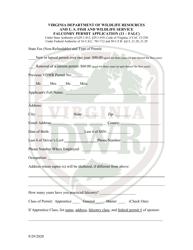 """Falconry Permit Application (11 - Falc)"" - Virginia"