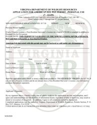"""""""Application for American Eel Pot Permit - Personal Use (7 - Elpp)"""" - Virginia"""