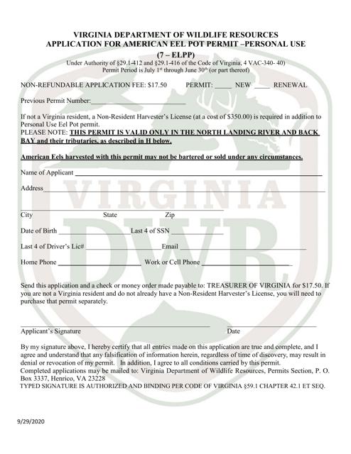 """Application for American Eel Pot Permit - Personal Use (7 - Elpp)"" - Virginia Download Pdf"