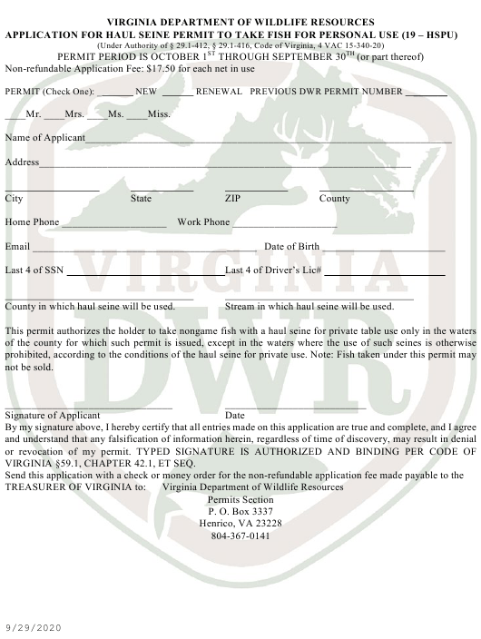 """""""Application for Haul Seine Permit to Take Fish for Personal Use (19 - Hspu)"""" - Virginia Download Pdf"""