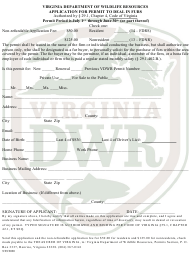 """""""Application for Permit to Deal in Furs"""" - Virginia"""
