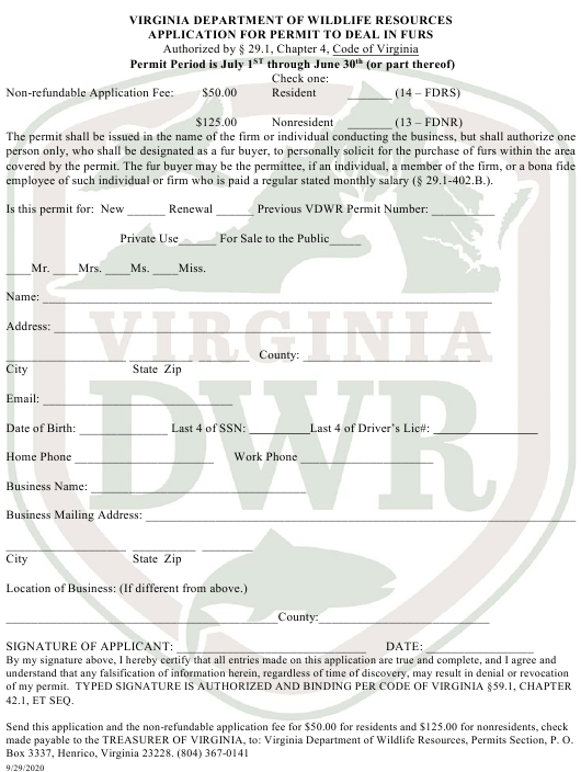 """Application for Permit to Deal in Furs"" - Virginia Download Pdf"
