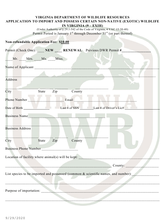 """""""Application to Import and Possess Certain Non-native (Exotic) Wildlife in Virginia (9 - Exih)"""" - Virginia Download Pdf"""