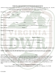 """""""Application for Permit to Propagate and Sell Certain Raptors in Virginia (26 - Rapp)"""" - Virginia"""