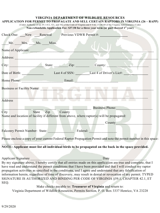 """Application for Permit to Propagate and Sell Certain Raptors in Virginia (26 - Rapp)"" - Virginia Download Pdf"