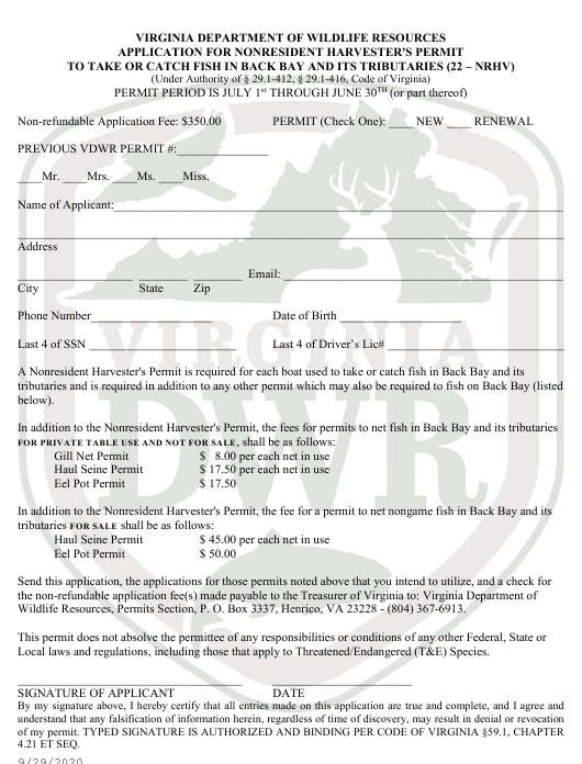 """""""Application for Nonresident Harvester's Permit to Take or Catch Fish in Back Bay and Its Tributaries (22 - Nrhv)"""" - Virginia Download Pdf"""