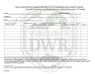 """""""Virginia Department Wildlife Resources Annual Rehabilitation Report Summary"""" - Virginia"""