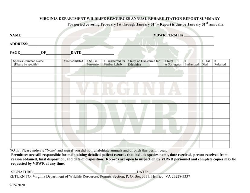 """""""Virginia Department Wildlife Resources Annual Rehabilitation Report Summary"""" - Virginia Download Pdf"""