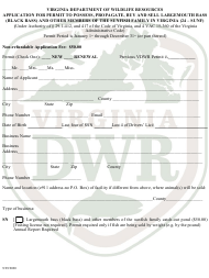 """""""Application for Permit to Possess, Propagate, Buy and Sell Largemouth Bass (Black Bass) and Other Members of the Sunfish Family in Virginia (24 - Sunf)"""" - Virginia"""