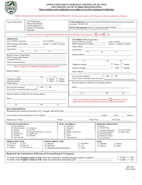 Form BRT-001  Printable Pdf