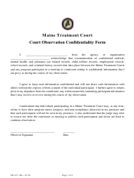 """Form CR-237 """"Court Observation Confidentiality Form"""" - Maine"""