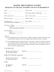 """Form CR-239 """"Request to Travel Outside County of Residence"""" - Maine"""
