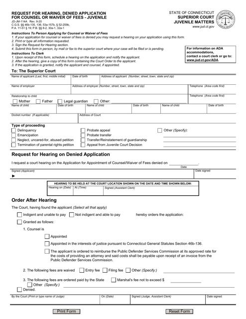 Form JD-JM-114A Printable Pdf
