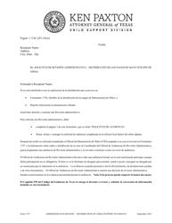 """Formulario 1757 """"Solicitud De Revision Administrativa - Distribucion De Los Pagos De Manutencion De Ninos"""" - Texas (Spanish)"""
