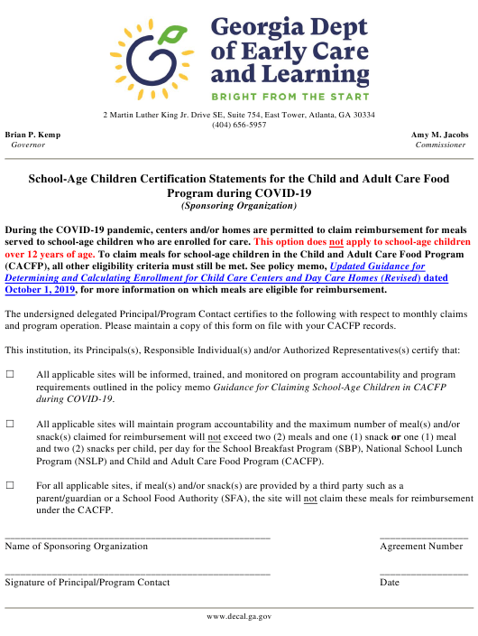 """""""School-Age Children Certification Statements for the Child and Adult Care Food Program During Covid-19 (Sponsoring Organization)"""" - Georgia (United States) Download Pdf"""