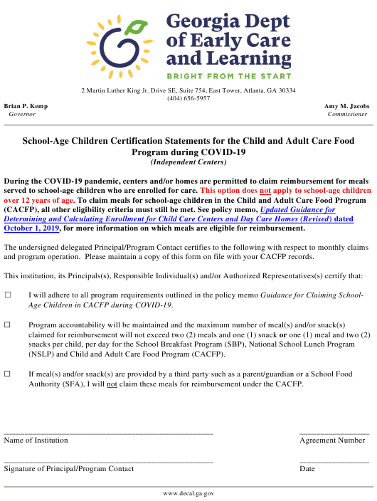 """School-Age Children Certification Statements for the Child and Adult Care Food Program During Covid-19 (Independent Centers)"" - Georgia (United States) Download Pdf"