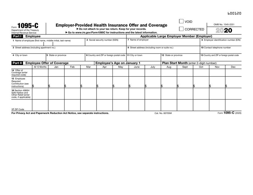 IRS Form 1095-C 2020 Printable Pdf