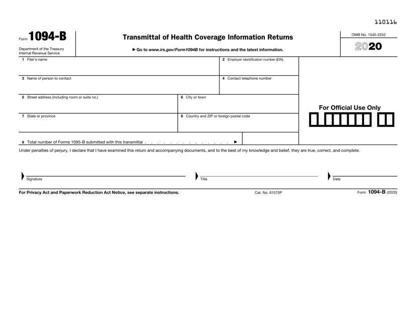 IRS Form 1094-B 2020 Printable Pdf