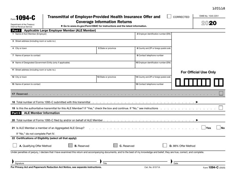 IRS Form 1094-C 2020 Printable Pdf