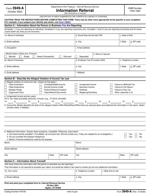 IRS Form 3949-A Printable Pdf