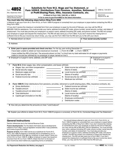 IRS Form 4852  Printable Pdf